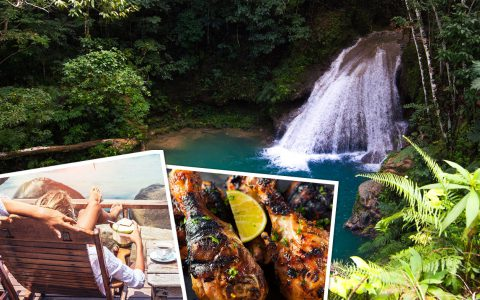 Jamaica Food, beach and waterfalls