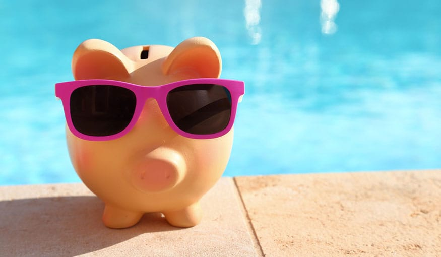 Piggy bank by pool